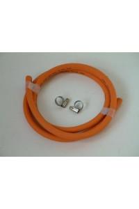 Flexible gaz orange 1 mètre avec colliers de serrage